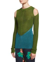 Etro | Blue Bicolor Cold-shoulder Sweater | Lyst
