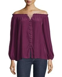 Ramy Brook - Purple Jackie Off-the-shoulder Lace-up Top - Lyst