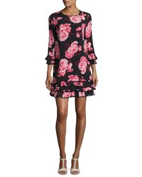 kate spade new york | Multicolor Rosa Floral Tiered Ruffle Shift Dress | Lyst