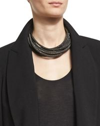 Brunello Cucinelli | Gray Monili & Metallic Leather Coil Necklace | Lyst