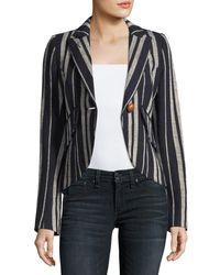 Smythe | Black Striped Linen One-button Blazer | Lyst