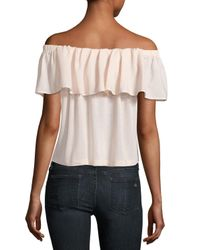 French Connection | Pink Polly Plains Off-the-shoulder Blouse | Lyst