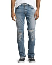 Hudson Jeans | Blue Sartor Slouchy Distressed Skinny Jeans for Men | Lyst