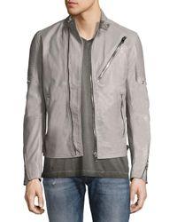 DIESEL   Gray Leather Café Biker Jacket for Men   Lyst
