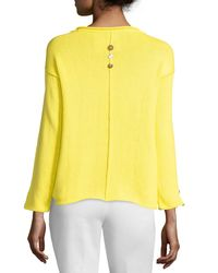 Pure Handknit | Yellow Iris Pullover Top With Buttons | Lyst