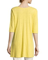 Eileen Fisher   Yellow Half-sleeve Linen Jersey Layering Tunic   Lyst