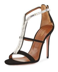 Aquazzura - Black Constance Crystal 105mm Sandal - Lyst