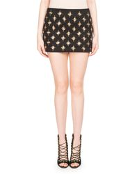 Balmain - Black Embellished Knit Miniskirt - Lyst
