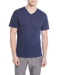 Vince - Blue Men's Heathered Linen/cotton V-neck T-shirt for Men - Lyst