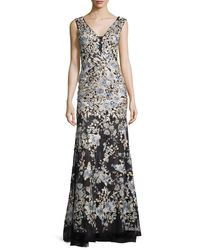 Jovani - Multicolor Cap-sleeve Embroidered Tulle Cocktail Dress - Lyst