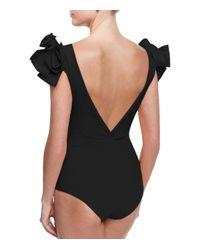 La Petite Robe Di Chiara Boni - Black Belvisette V-neck Two Rose One-piece Swimsuit - Lyst