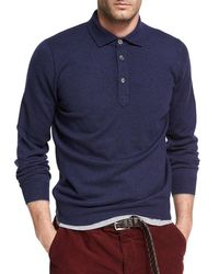 Brunello Cucinelli | Blue Cashmere Long-sleeve Polo Sweater for Men | Lyst