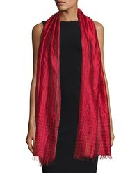 Eileen Fisher - Red Silk Ombre Scarf - Lyst