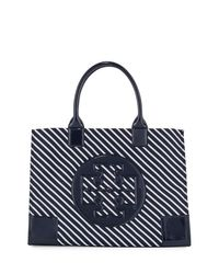 Tory Burch | Blue Ella Striped Nylon Tote Bag | Lyst
