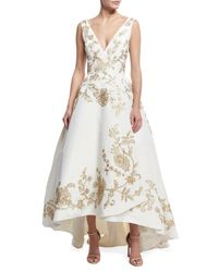 Oscar de la Renta | White Embroidered Silk Faille High-low Gown | Lyst