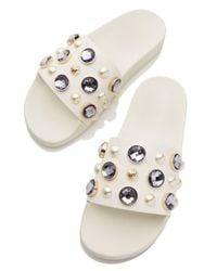 Tory Burch - White Vail Jeweled Flat Slide Sandal - Lyst