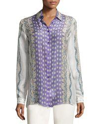 Etro | Purple Abstract Print Sheer Shirt | Lyst