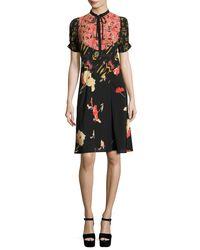 Etro - Black Patchwork Floral-print Silk Dress - Lyst