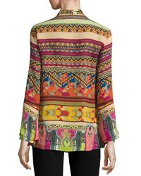 Etro   Multicolor Printed Silk Shirt With Scarf   Lyst