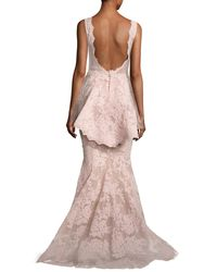 Marchesa - Pink Sleeveless Plunging V-neck Peplum Gown - Lyst