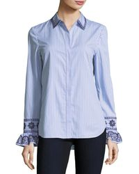 Tory Burch - Blue Paige Ombre-striped Embroidered Button-front Shirt - Lyst