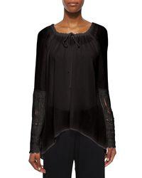 XCVI - Black St. Barts Tunic W/ Crochet Sleeves - Lyst