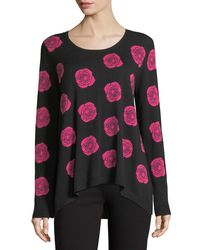 Joan Vass - Pink Falling Rose Intarsia Cotton Sweater - Lyst