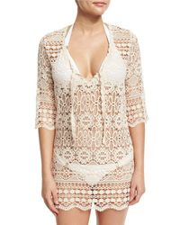 Queen & Pawn - White Juno Crocheted Lace V-neck Coverup Dress/tunic - Lyst
