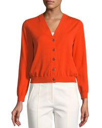 Tory Burch - Orange Margeaux Cotton Crepe Cardigan - Lyst