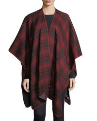 Woolrich - Red Plaid Oversized Cashmere Cape - Lyst