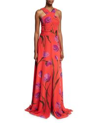 David Meister - Red Cross-front Floral Chiffon Gown - Lyst