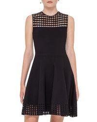 Akris Punto - Black Sleeveless Mesh-trim Bell Dress - Lyst