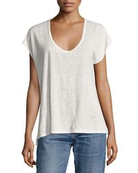 Rag & Bone - White Rugby Relaxed Linen Scoop-neck Tee - Lyst