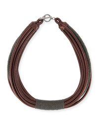 Brunello Cucinelli - Purple Monili Tube Leather Multi-strap Choker - Lyst