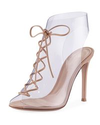 Gianvito Rossi Natural Plexi Lace-up 105mm Booties