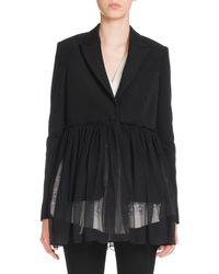 Givenchy - Black Pleated-chiffon One-button Jacket - Lyst