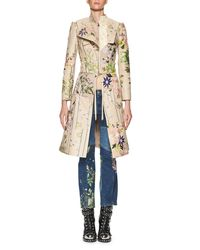 Alexander McQueen | Blue Floral-embroidered Kick Crop Jeans | Lyst
