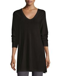 Eileen Fisher - Black Crisp Cotton Links Long-sleeve V-neck Tunic - Lyst