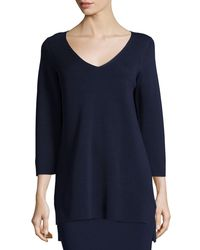Eileen Fisher - Blue 3/4-sleeve V-neck Interlock Tunic - Lyst