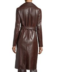 Helmut Lang | Brown Leather Button-front Belted Biker Coat | Lyst
