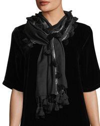 Eileen Fisher - Black Tasseled Shimmer-trim Scarf - Lyst