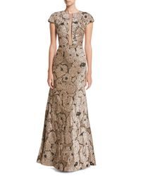 Lela Rose - Metallic Tinsel Jacquard Tulle-inset Column Gown With Detachable Brooch - Lyst