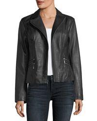 Neiman Marcus Black Leather Moto Jacket