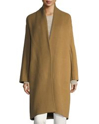 Vince - Natural High-collar Crossover-front Wool Top Coat - Lyst