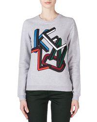 KENZO - Gray Embroidered Logo Sweatshirt - Lyst