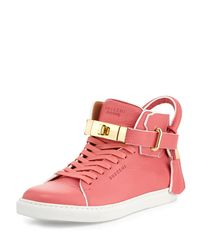 Buscemi - Pink Leather High-top Sneaker With Rolled Strap - Lyst