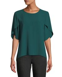 Eileen Fisher - Green Tulip-sleeve Silk Georgette Top - Lyst