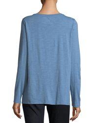 Eileen Fisher Blue Long-sleeve Slubby Organic Cotton Jersey Tee