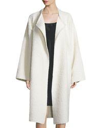 Helmut Lang | White Long Shaggy Alpaca-blend Coat | Lyst