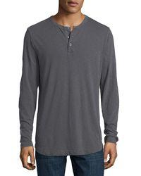Theory - Gray Nebulous Long-sleeve Henley T-shirt for Men - Lyst